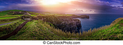 Sao Miguel coastline - Panoramic view of the stunningly...