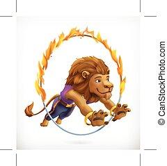 Circus lion jumping through a flaming hoop, fire show,...