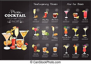 Front Drawing horisontal cocktail menu design on blackboard...