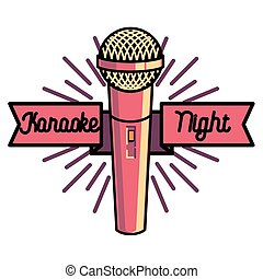 Color vintage karaoke emblems, label, badge and design...