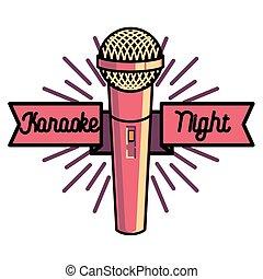 Color vintage karaoke emblems, label, badge and design...