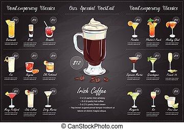 Back Drawing horisontal cocktail menu design on blackboard...