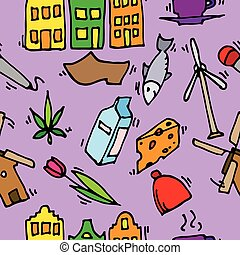 Holland icons pattern Vector illustration, EPS 10