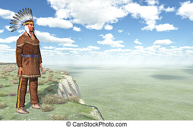 Plains Indian - Computer generated 3D illustration with a...