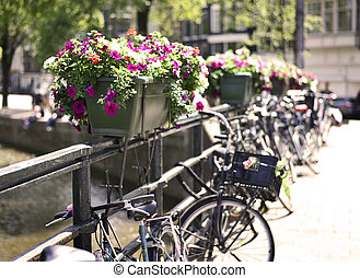 Amsterdam city with bicycles