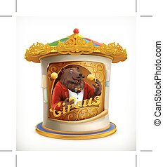 Poster of circus, funny animals vector icon mesh
