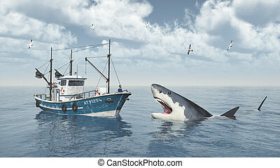 Trawler and great white shark - Computer generated 3D...