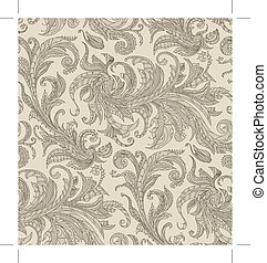Handmade unusual seamless vector pattern. Exotic floral...