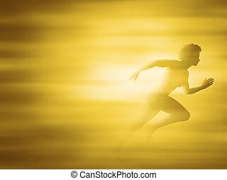 Woman running for gold