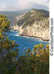 Lefkada west coast and its southest part Cape Lefkatas,...