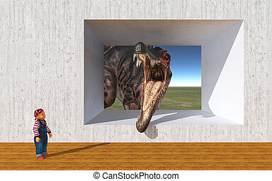 Child and the dinosaur Spinosaurus - Computer generated 3D...