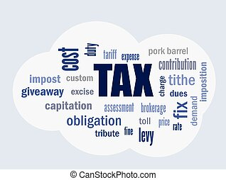 tax cloud vector - tax related terms and definitions on...