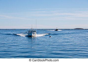Two Fishing Boats Speeding Toward Camera