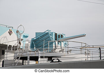 Blue Cannon on Old Ship