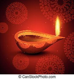 Vector Happy Diwali Holiday Design - Vector Illustration of...