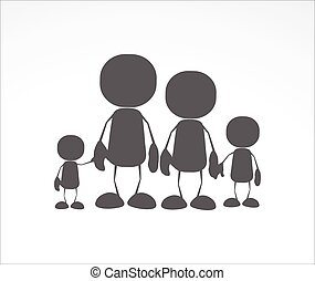 Family human icons, mum, dad and two kids