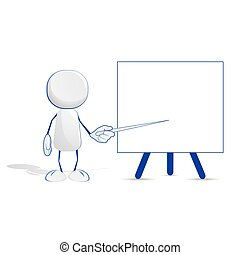 Abstract human icon with a pointer and a blackboard