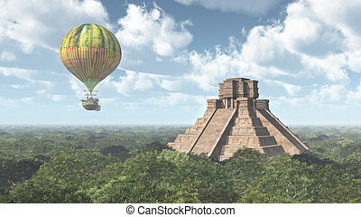 Mayan temple and hot air balloon - Computer generated 3D...