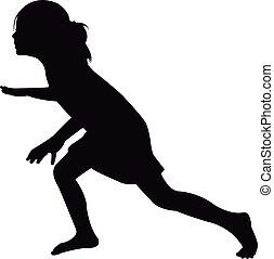 a girl, silhouette