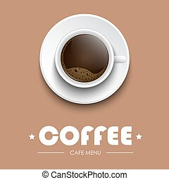 Coffee cup on a brown background with text