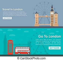 Banner travel to London. Flat style