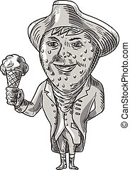 Strawberry Tricorn Hat Ice Cream Black and White Drawing -...