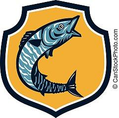 Wahoo Fish Jumping Shield Retro - Illustration of a wahoo ,...