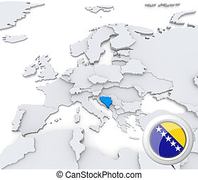 Bosnia and Herzegovina on map of Europe - Highlighted Bosnia...