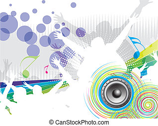 party concept - A crowd of party people vector with music...