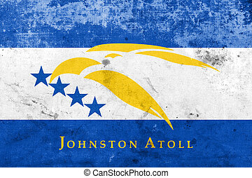 Flag of Johnston Atoll, USA, with a vintage and old look