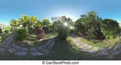 360 VR Tropical garden on the hotel area on sunny day,...