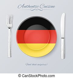 Authentic Cuisine of Germany Plate with German Flag and...