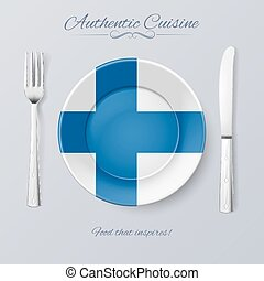 Authentic Cuisine of Finland. Plate with Finland Flag and...