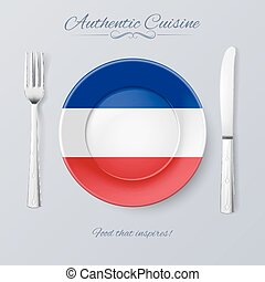 Authentic Cuisine of Yugoslavia Plate with Yugoslavian Flag...