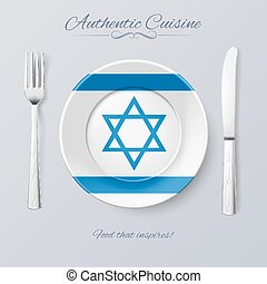 Authentic Cuisine of Israel Plate with Israeli Flag and...