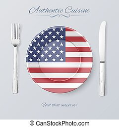 Authentic Cuisine of USA Plate with American Flag and...