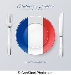 Authentic Cuisine of France Plate with French Flag and...