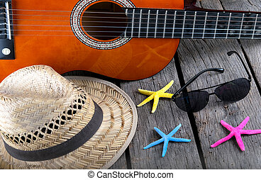 summer background beach bar Acoustic guitar star hat and...