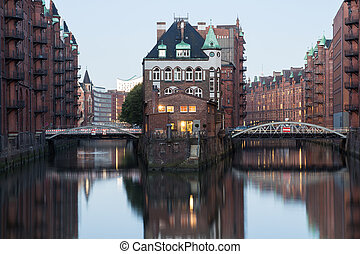 Wasserschloss in Hamburg Speicherstadt at morning, Germany