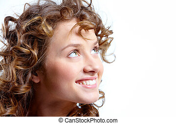 Coquette - Image of pretty woman with beautiful curly hair