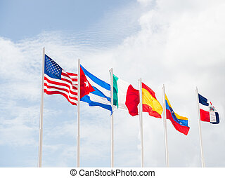 many flags of different countries - many colorful national...