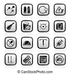 Pregnancy and contraception Icons - vector icon set