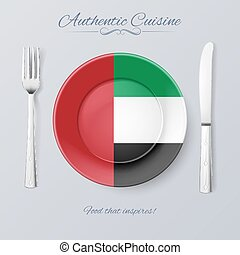 Authentic Cuisine of United Arab Emirates Plate with Flag...