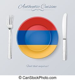 Authentic Cuisine of Armenia. Plate with Armenian Flag and...