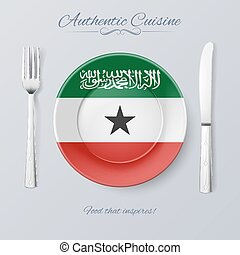 Authentic Cuisine of Somaliland Plate with Flag and Cutlery