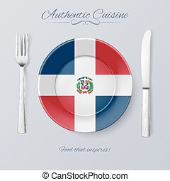 Authentic Cuisine of Dominican Republic. Plate with Flag and...