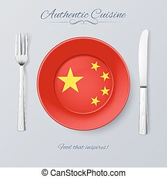 Authentic Cuisine of China Plate with Chinese Flag and...