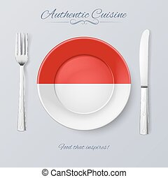 Authentic Cuisine of Indonesia. Plate with Indonesian Flag...