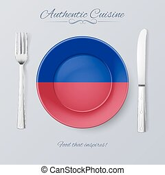Authentic Cuisine of Haiti. Plate with Haitian Flag and...