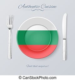 Authentic Cuisine of Bulgaria. Plate with Bulgarian Flag and...